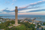 Pilgrim Monument at Sunset with Provincetown and Harbor in Background, Cape Cod, Provincetown, MA