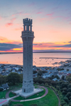 Pilgrim Monument at Sunrise with Provincetown and Harbor in Background, Cape Cod, Provincetown, MA
