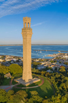 Pilgrim Monument with Provincetown and Harbor in Background, Cape Cod, Provincetown, MA