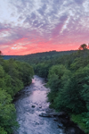Sunset over Forest and Millers River, near Bearsden Conservation Area, Athol, MA