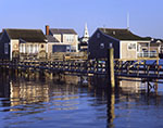 Wharf Houses and Church Steeple, Nantucket Harbor