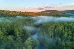 Ground Fog at Sunset over Millers River Winding through Bearsden Forest, Athol, MA