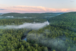 Ground Fog at Sunset over Millers River and Bearsden Forest Conservation Area, Athol, MA