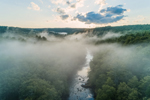 Evening Ground Fog Settles over Millers River Winding through Bearsden Forest, Athol, MA