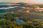 Early Morning Light Shines through Ground Fog in Blue Ridge Mountains and George Washington National Forest, Amherst and Bedford Counties, VA