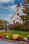 Bolton Historical Museum with Colorful Fall Flowers, Adirondacks Region, Bolton, NY