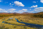 North Meadow Brook in Early Autumn with Mountains in Distance, Adirondack Park, North Elba, NY