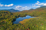 Holcomb Pond in Early Autumn with Whiteface Mountain in Distance, Adirondack Park, View from North Elba, NY