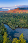 West Branch Ausable River and Forests in Early Autumn, Mountains in High Peaks Wilderness Area in Distance, Adirondack Park, View from North Elba, NY
