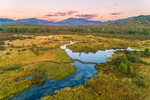 Sunset over North Meadow Brook in Early Autumn with Mountains in Distance, Adirondack Park, North Elba, NY