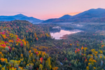 Sunrise over Holcomb Pond in Early Autumn with Whiteface Mountain in Distance, Adirondack Park, View from North Elba, NY