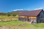 Old, Weathered, Natural Wood Barn in Autumn, Whiteface Mountain in Distance, Adirondack Park, Wilmington, NY