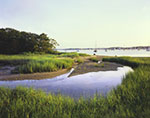 View from Tidal Pool and Salt Marsh with Boats in Red Brook Harbor in Background