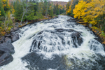 Buttermilk Falls on Raquette River In Autumn, off Adirondack Trail Scenic Byway near Long Lake, NY