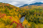West Branch Ausable River in Autumn with Sentinel Range in Distance, Adirondack Park, near Lake Placid, Town of North Elba, NY