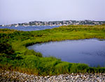 Tidal Pond and Salt Marsh with Boats in Cuttyhunk Pond in Background