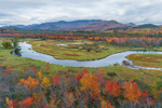 Saranac River in Autumn with McKenzie Mountain Wilderness in Distance, Adirondack Park, St. Armand, NY