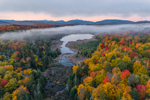 Big Cherrypatch Pond with Early Morning Fog in Autumn, High Peaks Mountains in Distance, Adirondack Park, near Lake Placid, Town of North Elba, NY