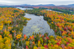 Lodo Pond and Rich Lake in Autumn with Mountains in Distance, Adirondack Park, Newcomb, NY