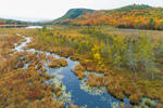 Wetlands along Stream at Moxham Pond in Autumn, Moxham Mountain and Moxham Point in Background, Adirondack Park, Minerva, NY