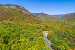 Frankenstein Cliffs and Crawford Notch in Early Autumn, Mount Washington in Far Distance, Crawford Notch State Park, White Mountains Region, View from Harts Location, NH