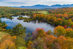 Colorful Foliage at Coffin Pond with Cannon Mountain and Mount Lafayette in Distance, Franconia Range, White Mountains Region, View from Sugar Hill, NH