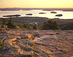 Sunrise View from Cadillac Mountain to Bar Harbor and Porcupine Islands