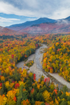View of Peabody River and Scenic White Mountain Road (Rt.16) in Fall, Mount Washington and Presidential Range in Distance, White Mountain National Forest, Gorham, NH