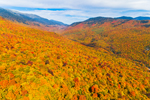Brilliant Fall Foliage on Wildcat Ridge with Carter Mountains and Presidential Range in Distance, White Mountain National Forest, View from Jackson, NH