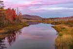 Sunset over Wetlands and Clyde River in Autumn, Dollif Mountain in Distance, Northeast Kingdom Region, Village of East Charleston, Charleston, VT