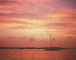 Sunset over Sag Harbor after Summer Storm from outside Breakwater, Long Island