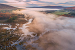 Ground Fog over Clyde River in Early Morning Light in Fall, Northeast Kingdom Region, Brighton, VT