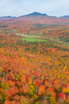 Brilliant Fall Foliage in Green Mountains in Autumn with Jay Peak in Distance, Montgomery, VT