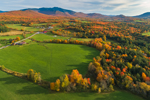 Rural Farmland in Fall with Mount Mansfield in Distance, Green Mountains Region, Cambridge, VT