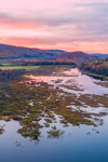 Sunset over Wetlands and Clyde River in Autumn, Northeast Kingdom Region, Village of East Charleston, Charleston, VT