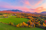 Colorful Sunset over Rural Farmland in Fall with Mount Mansfield in Distance, Green Mountains Region, Cambridge, VT