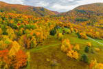 Brilliant Fall Foliage in Green Mountains, View from Richmond, VT