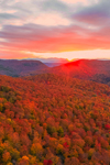 Dramatic Sunset over Green Mountains in Autumn, View from Huntington, VT