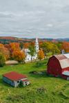 Red Barns and The Congregational Church of Peacham in Autumn, Northeast Kingdom, Peacham, VT