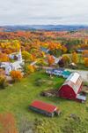 Peacham Center with Red Barns and The Congregational Church of Peacham in Autumn, Northeast Kingdom, Peacham, VT