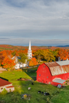 Early Evening Light Shines on Red Barns and The Congregational Church of Peacham in Autumn, Northeast Kingdom, Peacham, VT