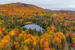 Fall Foliage on Small Pond and Hooker Mountain in Autumn, Northeast Kingdom, Cabot, VT