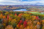 Colorful Foliage on Roy Mountain with Harvey Pond and Harvey Mountain in Distance, Northeast Kingdom, West Barnet, Barnet, VT