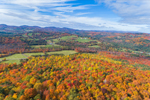 Fall Foliage in Mountains and Valleys of Vermont's Northeast Kingdom, View from West Barnet, Barnet, VT