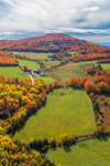 Colorful Fall Foliage and Green Fields, Roy Mountain, Northeast Kingdom, View from West Barnet, Barnet, VT