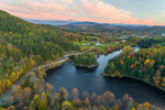 Connecticut River at Sunset in Fall, View Looking South from Bath, NH