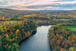 Connecticut River at Sunset in Fall, View from Bath, NH Looking West to Ryegate, VT