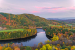 Sunset over Connecticut River and Gardner Mountain in Fall, View from Ryegate, VT Looking East to Bath, NH