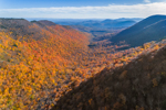 View South Along Mink Hollow between Sugarloaf and Plateau Mountains in Fall, Catskill Park, Hunter, NY