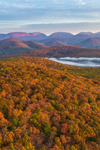Early Morning Light Shines on Catskill Mountains in Fall Looking North from Tonshi Mountain, Catskill Park, Hurley, NY
